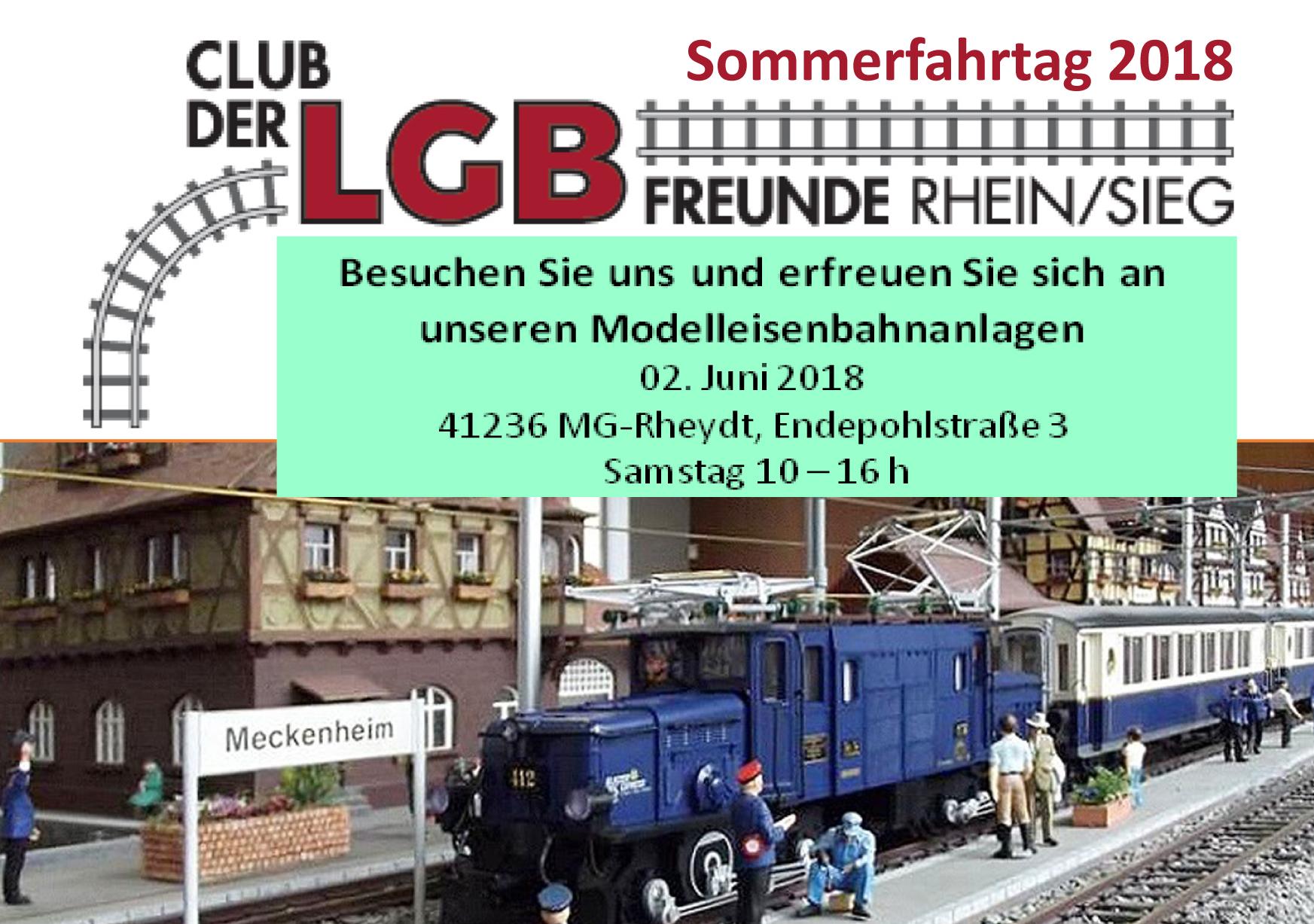Flyer für unseren Sommerfahrtag 2018 am 02. Juni 2018 in unserem Clubdomizil in Mönchengladbach.